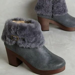 Anthropologie Grey Clog Boot